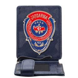 Anı Yüzük - Kırmızı Mavi Mineli Jandarma Rozetli Para Tokalı Kartlık Cüzdan Kamuflaj Lacivert