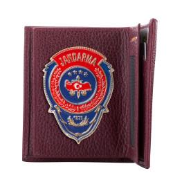 Kırmızı Mavi Mineli Jandarma Rozetli Klasik Cüzdan Bordo - Thumbnail