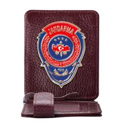 Anı Yüzük - Kırmızı Mavi Mineli Jandarma Rozetli Para Tokalı Kartlık Cüzdan Bordo
