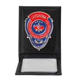 Anı Yüzük - Kırmızı Mavi Mineli Jandarma Rozetli Yatay Kartlık Cüzdan Siyah