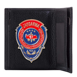 Anı Yüzük - Kırmızı Mavi Mineli Jandarma Rozetli Klasik Cüzdan Siyah
