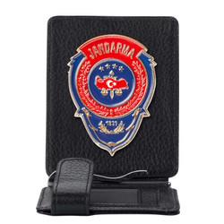 Anı Yüzük - Kırmızı Mavi Mineli Jandarma Rozetli Para Tokalı Kartlık Cüzdan Siyah