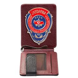 Kırmızı Mavi Mineli Jandarma Rozetli Para Tokalı Kartlık Cüzdan Bordo-Siyah