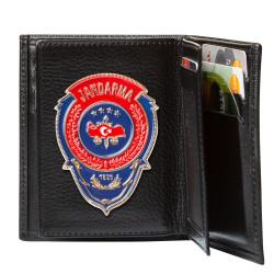 Kırmızı Mavi Mineli Jandarma Rozetli Klasik Cüzdan Kamuflaj Siyah