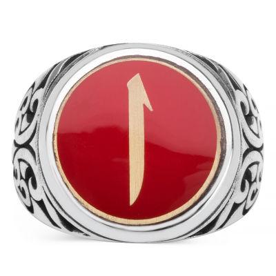 Kırmızı Mine Üzerine Elif İşlemeli Erkek Yüzük