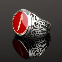 Kırmızı Mine Üzerine Elif İşlemeli Erkek Yüzük - Thumbnail