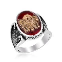 Kırmızı Mineli Osmanlı Arması Gümüş Yüzük - Thumbnail