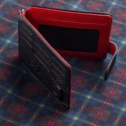 İsimli Deri Kartlık Cüzdan Çift Taraflı Kırmızı-Siyah Renk - Thumbnail