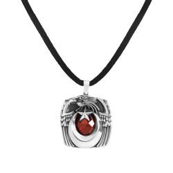 Anı Yüzük - Kırmızı Taşlı Ay Yıldızlı Kartal Başlı Gümüş Erkek Kolye