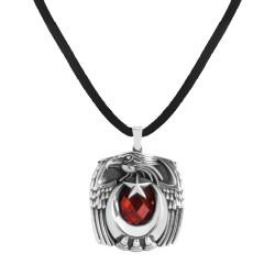 Anı Yüzük - Kırmızı Taşlı Kartal Başlı Pençeli Gümüş Erkek Kolye