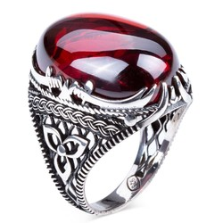 Anı Yüzük - Kırmızı Zirkon Taş Kılıç Figürlü Gümüş Erkek Yüzük