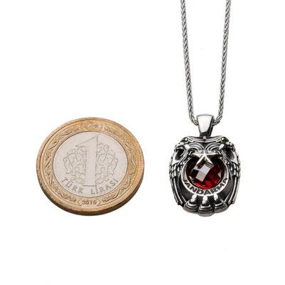 Kırmızı Zirkon Taşlı Çift Kartal Başlı Gümüş Jandarma Kolyesi