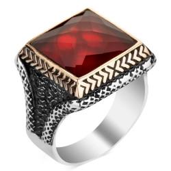 Anı Yüzük - Kırmızı Zirkon Taşlı Kare Tasarım Erkek Gümüş Yüzüğü