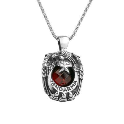 Kırmızı Zirkon Taşlı Tek Kartal Başlı Gümüş Jandarma Kolyesi