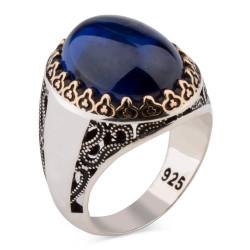 Kişiselleştirilebilir Mavi Taşlı Gümüş Yüzük - Thumbnail