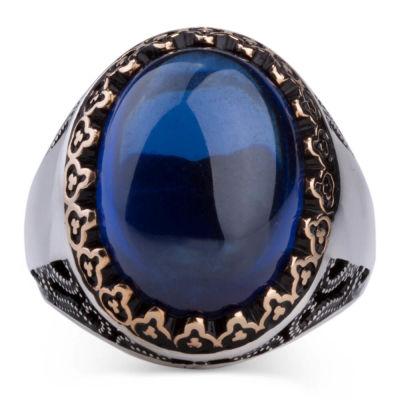 Kişiselleştirilebilir Mavi Taşlı Gümüş Yüzük