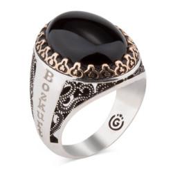 Kişiselleştirilebilir Siyah Oniks Taşlı Gümüş Yüzük
