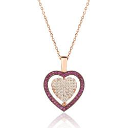 Kişiye Özel Çift Taraflı Kalp Bayan Gümüş Kolye - Thumbnail