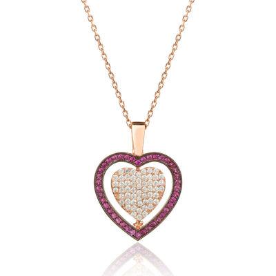 Kişiye Özel Çift Taraflı Kalp Bayan Gümüş Kolye