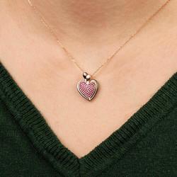 Kişiye Özel Mor Taşlı Açılabilir Kalpli Şık Bayan Kolye - Thumbnail