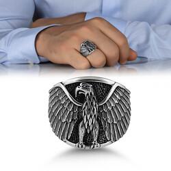 Kızgın Kartal Motifli Taşsız Gümüş Erkek Yüzük - Thumbnail