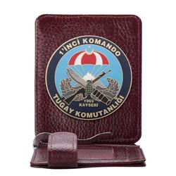 Anı Yüzük - Birinci Komando Tugay Komutanlığı Rozetli Para Tokalı Kartlık Cüzdan Bordo