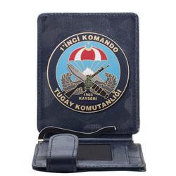Anı Yüzük - Birinci Komando Tugay Komutanlığı Rozetli Para Tokalı Kartlık Cüzdan Kamuflaj Lacivert