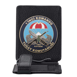Anı Yüzük - Birinci Komando Tugay Komutanlığı Rozetli Para Tokalı Kartlık Cüzdan Siyah