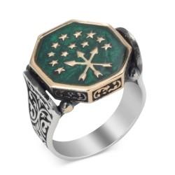 Köşeli Kesim Gümüş Mineli Çerkes Yüzüğü - Thumbnail