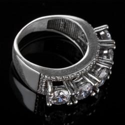 Kristal Taş İşlemeli Beş Taş Yüzük - Thumbnail