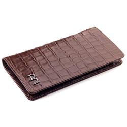 Anı Yüzük - Kroko Deri Cep Telefonu Bölmeli Deri El Cüzdanı Kahverengi