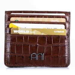Kroko Deri Çıtçıtlı Kartlık Kahverengi - Thumbnail