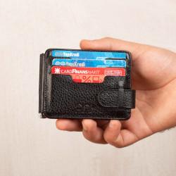 Küçük Boy Jandarma Rozetli Para Tokalı Kartlık Cüzdan Bordo-Siyah - Thumbnail