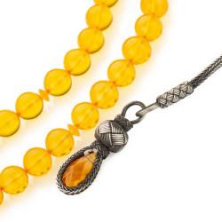 Küre Kesim Kazazlı Sarı Sıkma Kehribar Tesbih - Thumbnail