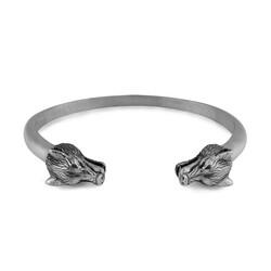 Kurt Kafası Figürlü 925 Ayar Gümüş Erkek Bileklik - Thumbnail