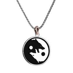 Kurt Yang Tasarımlı Siyah Mineli Gümüş Erkek Madalyon Kolye