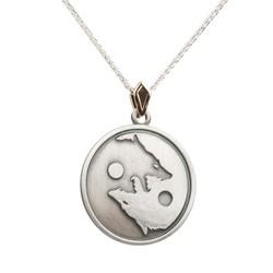Kurt Yang Tasarımlı Gümüş Erkek Madalyon Kolye - Thumbnail
