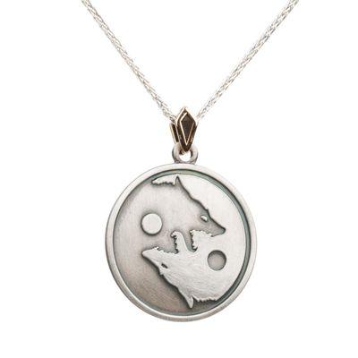 Kurt Yang Tasarımlı Gümüş Erkek Madalyon Kolye