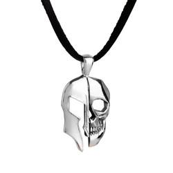 Kuru Kafa Miğfer Figürlü Gümüş Erkek Kolye - Thumbnail