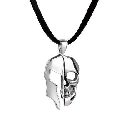 Kuru Kafa Miğfer Figürlü Gümüş Erkek Kolye