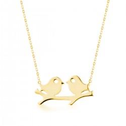 Anı Yüzük - Kuş Motifli Gold Kadın Kolye