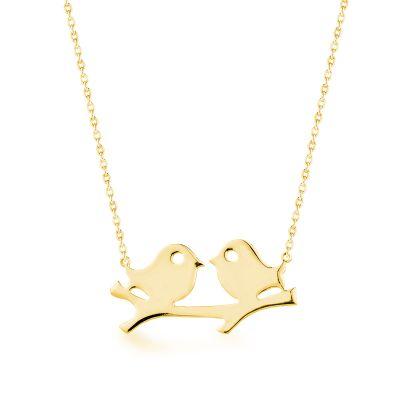 Kuş Motifli Gold Kadın Kolye