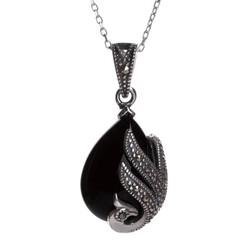 Anı Yüzük - Kuş Motifli Siyah Damla Taşlı Gümüş Bayan Kolye
