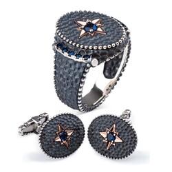 Kuzey Yıldızı Motifli Gümüş Erkek Yüzük Ve Kol Düğmesi Seti - Thumbnail