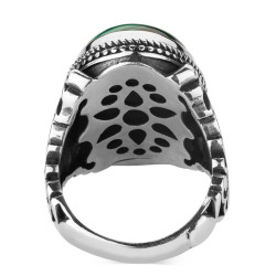 Malahit Taşlı Gümüş Erkek Yüzük - Thumbnail