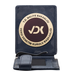 Maliye Bakanlığı Vergi Denetim Kurulu Rozetli Para Tokalı Kartlık Cüzdan Kamuflaj Lacivert - Thumbnail