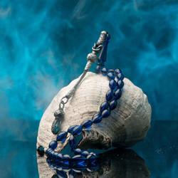 Mavi Arpa Kesim Kazaz Püskül Sıkma Kehribar Tesbih - Thumbnail