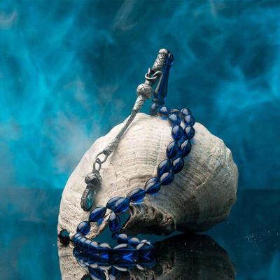 Mavi Arpa Kesim Kazaz Püskül Sıkma Kehribar Tesbih