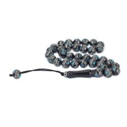 Mavi Firuze İşlemeli Erzurum Oltu Taşı Tesbih - Thumbnail