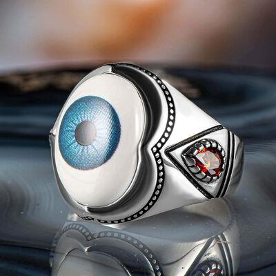 Mavi Göz Motifli Beyaz Taşlı 925 Ayar Gümüş Erkek Yüzük